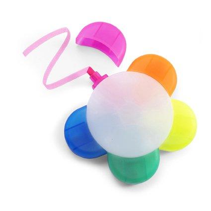 Marcador Fluorescente De Plastico Con 5 Colores. Blanco Neutro
