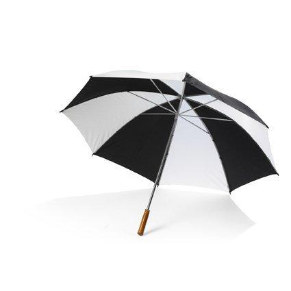 Paraguas 8 Segmentos De Nylon 190t. Mango Recto De Madera, CaÑa Y Varillas Metalicas. Cierre Boton. Negro