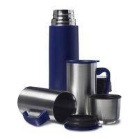 Termo De 500 Ml Y 2 Tazas De 300 Ml En Acero InoXidable Con Adorno De Plastico. Azul Marino