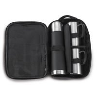 Termo De 500 Ml Y 2 Tazas De 260 Ml En Acero InoXidable, Con Funda De Nylon. Negro