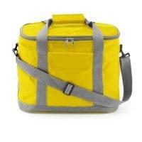 Bolsa Isotermica De Nylon 420d, Bolsillo Frontal Con Cierre Velcro, Bandolera EXtraible Y Doble Asa. Amarillo