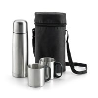 Set De Termo 500 Ml Y 2 Tazas 200 Ml En Funda Gris Ash Claro